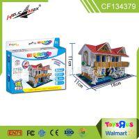 DIY涂鸦 3d立体拼图城堡模型拼板 幼儿园儿童益智手工制作玩具