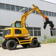 山鼎90胶轮挖掘机多少钱 多功能轮式挖机 抓木机价格