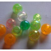 义乌批发饰品配件 8MM透明塑料AB彩色圆珠子 儿童diy串珠材料