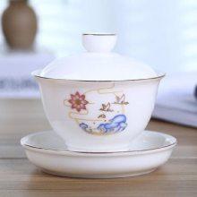 中秋礼品茶杯景德镇盖碗品茗陶瓷 创意定制广告印logo印字