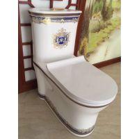 一体式双按卫浴陶瓷彩金马桶卫生间坐厕座便器