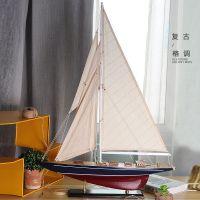 送人罢件展柜书柜渔船客厅时尚饰品模型制作手工庆典仿古小帆船