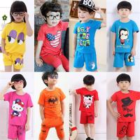 2019韩版夏季童装短袖套装 库存地摊货源童短袖套装两件套批发