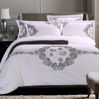 五星级酒店床上用品 白色纯棉60s贡缎刺绣绣花宾馆旅店四件套
