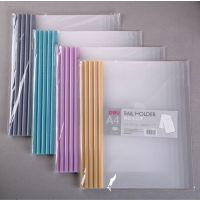 得力文具a4抽杆文件夹5530透明PVC资料夹 塑料拉杆水滴形抽杆夹