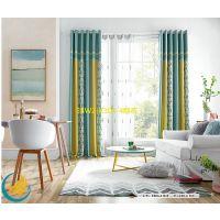 柯桥窗帘布料批发厂家直销 新款埃及尼绒 有窗帘效果图 免拼接 客厅卧室百搭面料