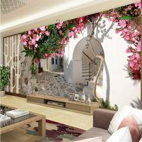 3d立体电视背景墙纸壁纸客厅卧室欧式无纺布田园花朵大型壁画