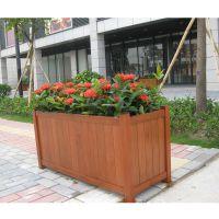 户外定做HUX018户外防腐木花箱六角形花箱长方形花箱组合圆桶花箱碳化木花槽