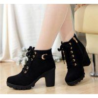 秋冬新款韩版高跟粗跟女靴子系带短筒靴女短靴马丁靴单靴女鞋棉靴