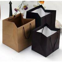 礼品袋 牛皮纸袋 方形宽底蛋糕手提袋 厂家定制 礼物手提袋