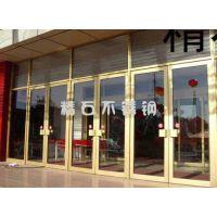 深圳精石酒店商铺防盗欧式304钛金不锈钢地弹簧定做安装玻璃门