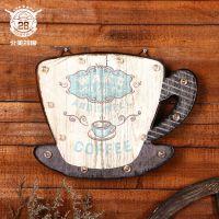 欧式创意木质led墙上装饰品 创意咖啡铁艺墙饰木制墙上挂件批发