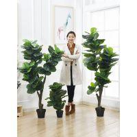 北欧仿真琴叶榕盆栽植物室内摆件绿植大盆景假花ins家居客厅装饰