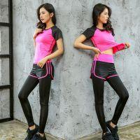 2018韩版瑜伽服女 显瘦速干跑步衣 套装两件套