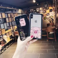 卡通情侣可爱小猪iphone8x缕空透明软边玻璃壳7PLUS手机壳6sp