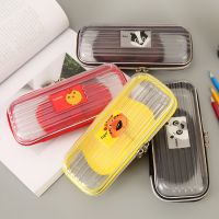 学生笔盒笔袋PVC塑料透明铅笔盒男女简约大容量文具盒批发