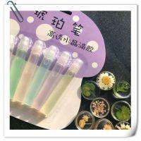 韩国创意琥珀笔透明水晶滴胶6色立体彩色定型笔小学生diy手工制作
