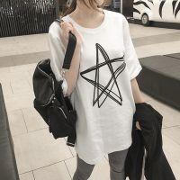 2018夏装新款韩版纯棉白色t恤女短袖中长款宽松半袖t桖打底衫上衣