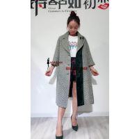 品牌折扣女装批发 服装厂家大量韩版女式羊毛大衣批发走份