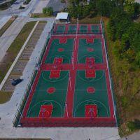 韶关小区篮球场结构 学校标准篮球场周长 丙烯酸体育场施工画线