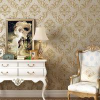 无纺布3D立体精压壁纸 客厅卧室电视背景墙欧式大马士革复古墙纸