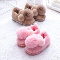 2018棉拖鞋 儿童冬季可爱毛球棉拖毛绒亲子防滑保暖新款棉鞋批发