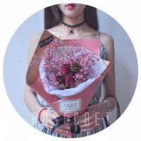 干花玫瑰满天星花束礼盒 天然风干真花生日表白情人节花盒礼物