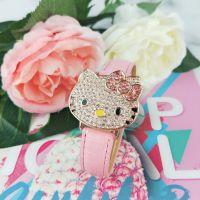 Hello kitty儿童镶水钻手表kt翻盖满钻女孩女生石英皮革手表