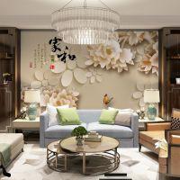 无缝大型电视背景墙壁画3d墙纸客厅中式花鸟8d壁纸5d墙布装修厂家