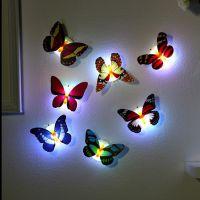 发光七彩灯3d立体夜光蝴蝶墙上装饰品客厅卧室婚房创意墙贴壁纸贴