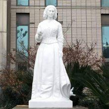 新款人物雕塑校园南丁格尔提灯女神汉白玉石雕厂家定做安装价格优惠