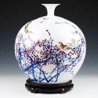 礼品摆件景德镇陶瓷器 高端名人名作大师手绘周华兰花瓶 家居摆件