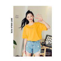 韩版地摊货源女式短袖t恤 便宜套头印花女装T恤特价促销批发