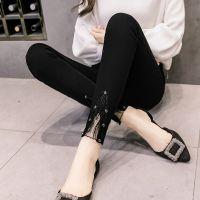 春秋打底裤女外穿薄款黑色铅笔2018高腰九分紧身小脚春季新款显瘦
