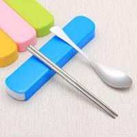韩国创意不锈钢勺子筷子二件套 学生可爱卡通旅游便携餐具盒包邮