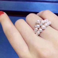 时尚美珍珠戒指S925纯银首饰