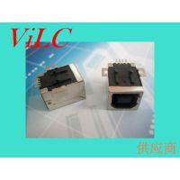 BF90度-二方脚贴片SMT/B型USB母座 4P后贴 有柱