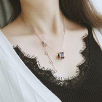 【】时尚钛钢玫瑰金陶瓷圆柱弹簧项链短款锁骨链女不掉色