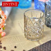 百丽儿 淘工厂货源单层办公室圆形水杯纯色复古怀旧cup 玻璃口杯
