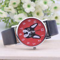 2015新款呆萌小狗石英表 学生情侣中性手表 圣诞礼品皮带手表