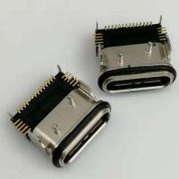 USB 3.1 TYPE-C 24P SMT型板上防水母座 四脚插板/贴板SMT/带柱/黑胶/带胶圈