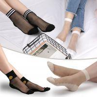 学院风系列春夏水晶丝袜纯棉底玻璃短丝袜子透明女袜批发厂家直销