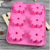 DIY手工皂模 6连樱花硅胶模 香薰模具 硅胶蛋糕花朵模 耐高温