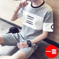 短袖t恤男士修身韩版学生百搭夏季衣服短袖套装2017新款个性潮男