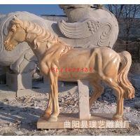 石雕马 大理石仿真动物八骏雄风马雕塑 公园室外庭院门口摆件