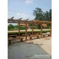 水泥长廊 钢筋混凝土仿木花架 景观水泥亭子