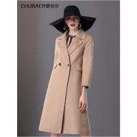 楚贝尔2018英伦女装双排扣羊绒大衣修身双面呢子裙摆毛呢外套中长款