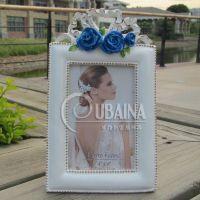 6寸欧式玫瑰白色相框相架树脂摆件工艺品家居礼品影楼像框创意