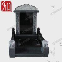 云南怒江墓碑 富士熙和山西黑多重工艺石雕墓碑 造型棱角分明
