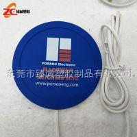 办公室用品pvc软胶发热杯垫 纯色logo发热杯垫 印刷USB软胶杯垫